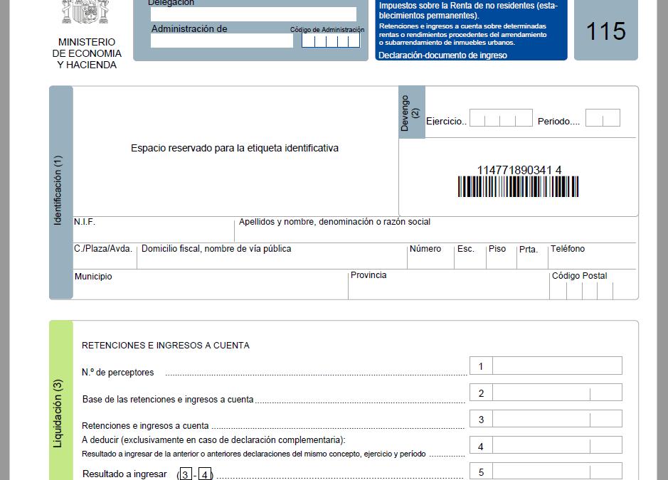 Cómo rellenar el modelo 115 – Retenciones del IRPF para alquileres