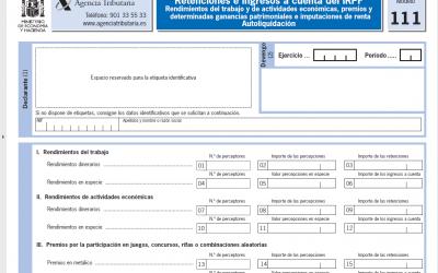 Cómo rellenar el modelo 111 – Retenciones e ingresos a cuenta del IRPF